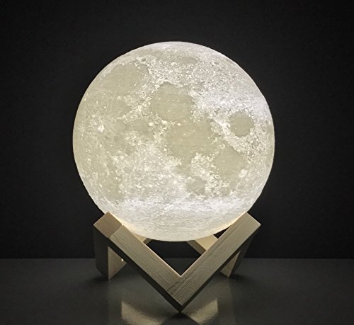 Moon Lamp Round Night Light 3D printed | FREE EBOOK | Dimmable Brightness, Touch Sensor, USB Charger, Warm & Cool White Lighting, Amazing Lunar Details | For Bedroom, Desk, Home ()