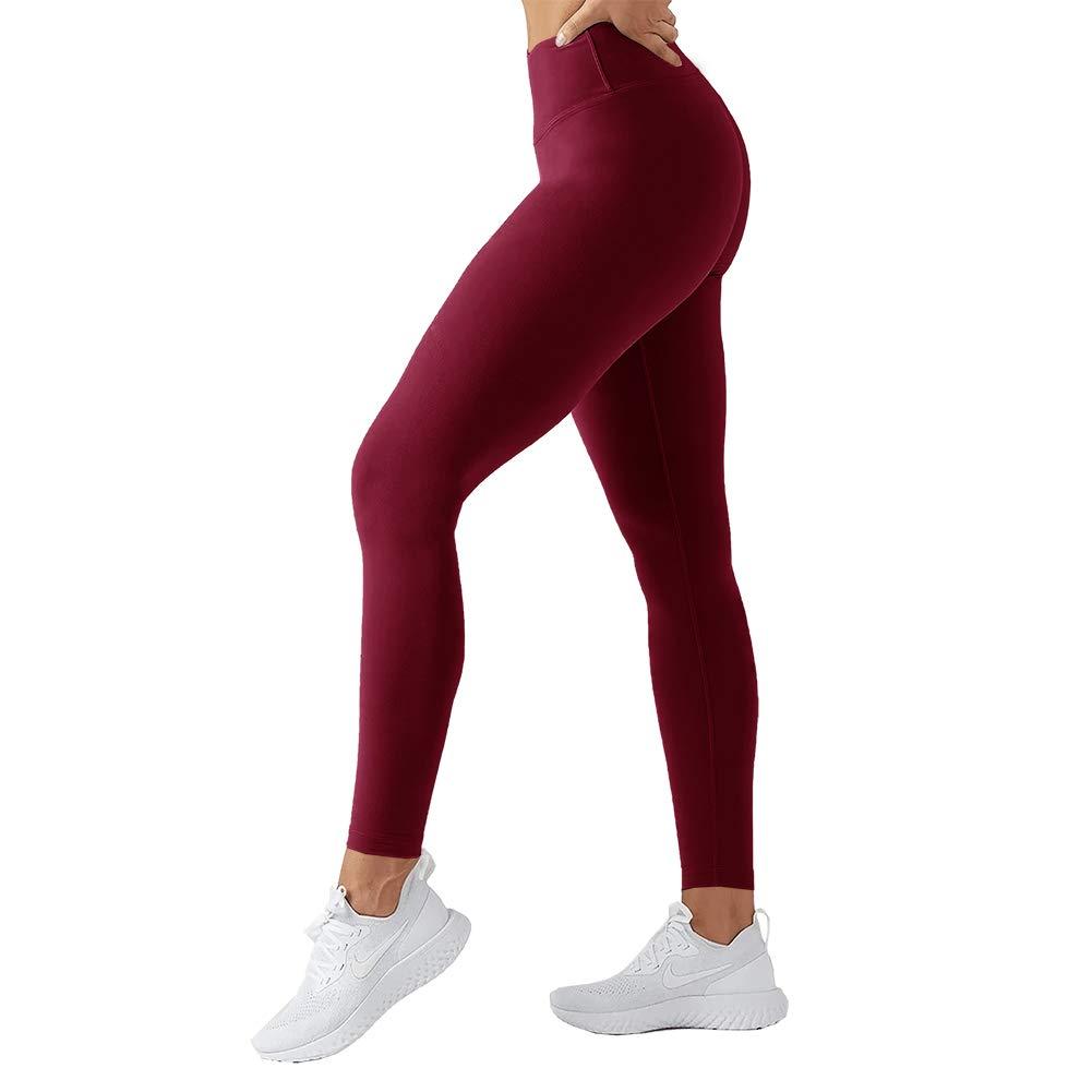 TNNZEET High Waisted Leggings for Women Girl Athletic Plus Size Yoga Pants Tummy Control Full Length Tight Elastic (Burgundy, One Size(US 2-12)) by TNNZEET
