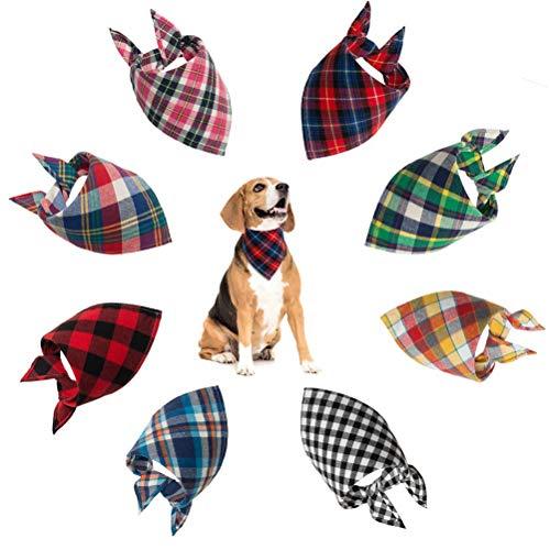 Durable Scarfs Accessories for Small to Medium Dogs SCIROKKO 4 Pcs Plaid Dog Bandanas Pet Triangle Bibs