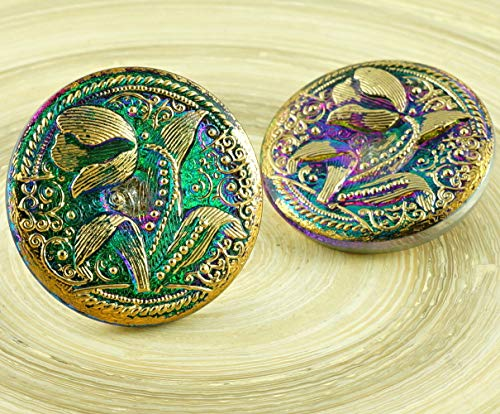Tulip Buttons - 1pc Large Crystal Dichroic Vitrail Green Purple Gold Tulip Flower Leaf Handmade Czech Glass Button Size 14, 33mm