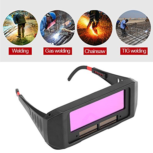 1 Pair Solar Auto Darkening Welding Goggle, Safety Protective Welding Glasses Mask Helmet, Eyes Goggles Mask Anti-Flog Anti-glare Goggles, Black (Helmet Electronic Auto Darkening Welding)