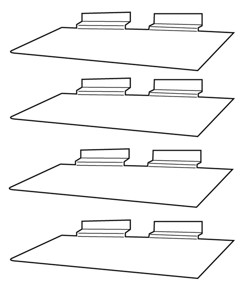 "Clear Slatwall Shelves 4"" x 10"" Set of 4 Retail"