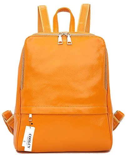 Coolcy Hot Style Women Real Genuine Leather Backpack Fashion Bag (Golden yellow) by COOLCY