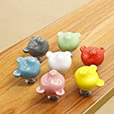 FatColo 6 pcs Ceramic Fish Colorful Cartoon Cute Cabinet Knob Children's Drawer Pull Handle for cabinet,cupboard, drawer (Bear Shape / Random 6 pcs)