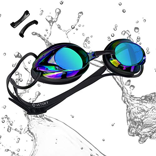vetoky Swim Goggles, Anti Fog Swimming Goggles UV Protection Mirrored & Clear No Leaking Triathlon Equipment for Adult and Children Black Color