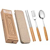 Startostar Stainless Steel Flatware Set with Wooden Handle & Gift Box 5-Piece for Home, Restaurant, Camping, Travel, School, Office