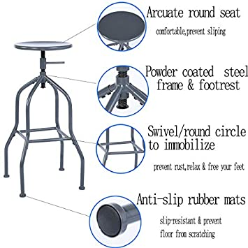 warmcentre Set of 2 Barstool Industrial Style Adjustable Metal Swivel Counter Height Bar Chairs Blue