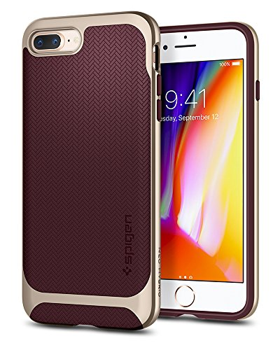 Spigen Neo Hybrid Designed for Apple iPhone 8 Plus Case (2017) / Designed for iPhone 7 Plus Case (2016) - Champagne Gold & Burgundy