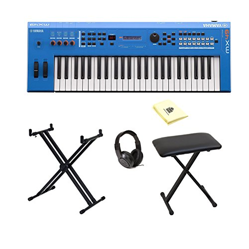 Yamaha MX49BU 49-Key Keyboard Music Production Synthesizer in Blue with Accessories by Yamaha