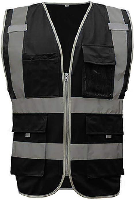 Gogo Warnweste Mit Reißverschluss Vorne Reflexstreifen Ansi Standards 9 Taschen Bekleidung