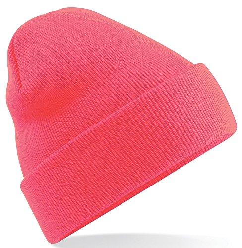 Beechfield-Gorro de Punto para Hombre Fluorescent Pink