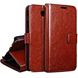 nKarta Vintage PU Leather Wallet Book Cover Case for Samsung Galaxy J7 Max (Brown)