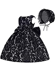 Toddler Baby Girls Lace Christing Pageant Birthday Party Baptismal Dress with Cap Free