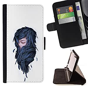 KingStore / Leather Etui en cuir / Sony Xperia Z3 D6603 / Mujer en plumas - Pop Art