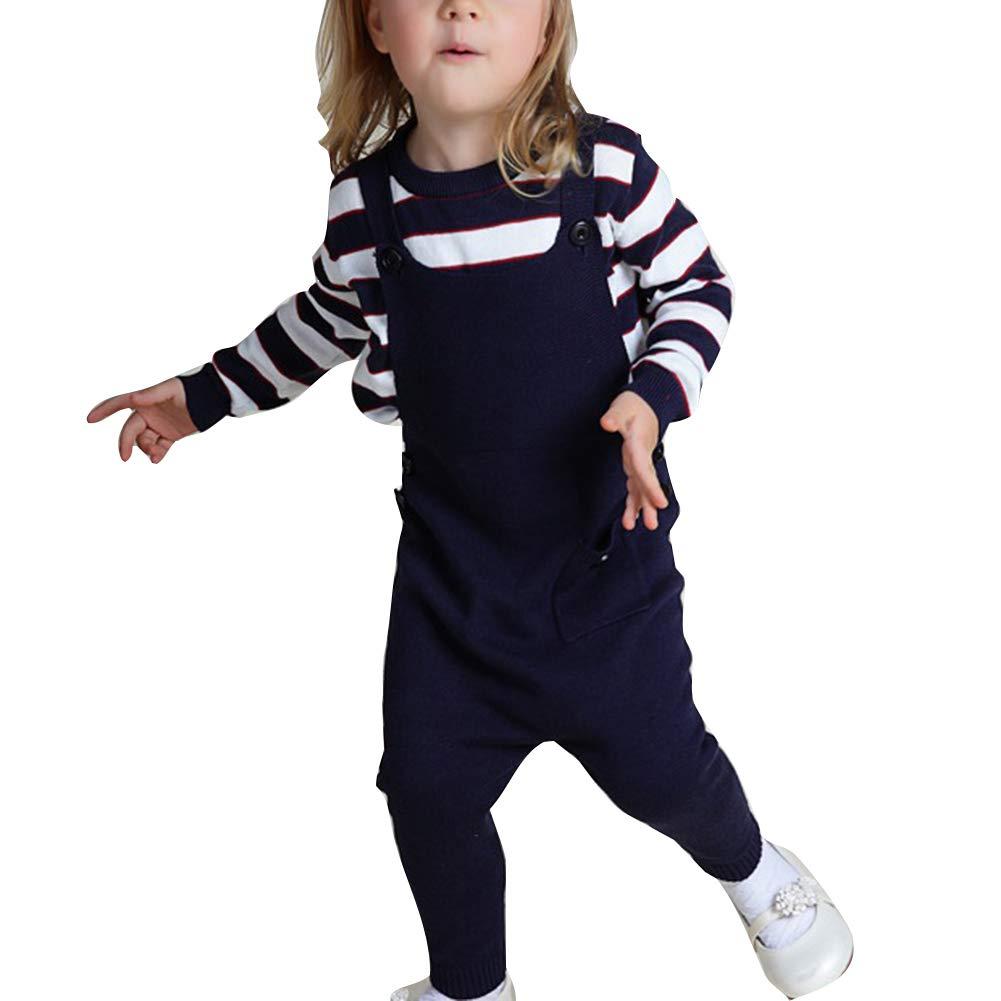 Unisex Kinder Latzhose Stricken Volltonfarbe Slim Fit Latzhose Freizeit Tasche Knopfdekoration Hosen 1-3 Jahre