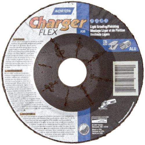 Norton Charger Flex Depressed Center Abrasive Wheel, Type 29, Aluminum Oxide, 7/8