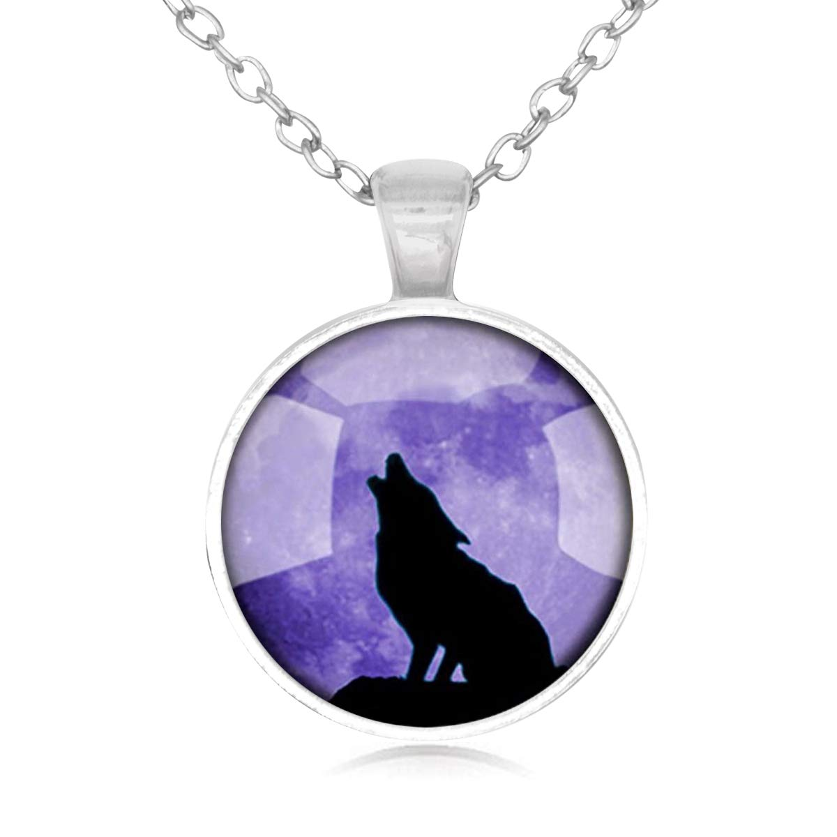 Lightrain Purple Howling Wolf Pendant Necklace Vintage Bronze Chain Statement Necklace Handmade Jewelry Gifts