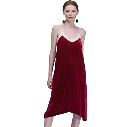 BELLA PHILOSOPHY Womens Velvet Long Dress Mesh Cami Sleepy Dress Sexy Knee-Length Vestidos