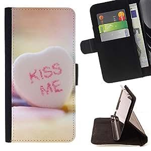 For Samsung Galaxy S3 Mini I8190Samsung Galaxy S3 Mini I8190 - KISS ME Heart /Funda de piel cubierta de la carpeta Foilo con cierre magn???¡¯????tico/ - Super Marley Shop -