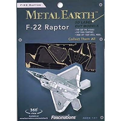 Fascinations Metal Earth F-22 Raptor Airplane 3D Metal Model Kit: FASCINATION: Toys & Games