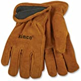 KINCO 50RL-XL Men's Lined Suede Cowhide Leather Gloves, Heat keep Thermal Lining, X-Large, Golden
