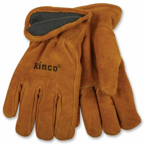 - KINCO 50RL-M Men's Lined Suede Cowhide Leather Gloves, Heat Keep Thermal Lining, Medium, Golden