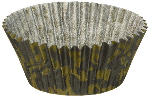 Oasis Supply 50 Count Baking Cups, Standard Size, Black and Gold Vine Pattern
