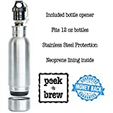 TWO Peek-a-Brew Stainless Steel Beer Bottle Insulators with (2) Beer and (2) bottle openers.