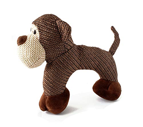 Monkey Single - Cliff The Brown Monkey Dog Toy - Woven Squeaker Plush Dog Toys – Adult & Puppy Chew Toys - Non-Toxic Plush Doll – Cute Dog Chew Toys for Light & Medium Chewers by Lily Anne (Single, Brown Monkey)