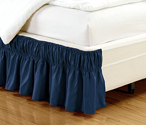 Easy Fit, Wrap Around Style NAVY BLUE Ruffled Solid Bed Skirt Fits both QUEEN and KING size bedding 100% soft microfiber fabric allows for Natural Draping, 14