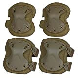 cheap airsoft gear - Flexzion Airsoft Knee Elbow Protective Pads Set (Tan) 4 Pack Tactical Combat Paintall Skate Outdoor Sports Safety Guard Gear Equipment with Adjustable Straps Quick Release