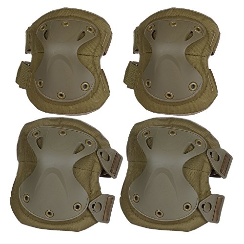 Flexzion Airsoft Knee Elbow Protective Pads Set (Tan) 4 Pack Tactical Combat Paintall Skate Outdoor Sports Safety Guard Gear Equipment with Adjustable Straps Quick Release Tactical Swat Knee Pads