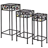 Giantex Set Of 3 Plant Stand Metal and Ceramic Indoor Outdoor Flower Pot Rack Stand Set 28-Inch, 24-Inch, 22-Inch (Square) Review