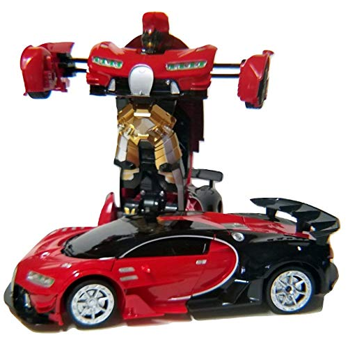 Remote Control Bugatti Car Transforming Classic Disguise Action Figure Hero Robot Toy with One Button Transformation (RED)