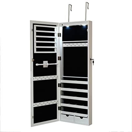 Giantex Jewelry Cabinet Armoire Door Wall Mounted With Full Length Mirror 2  Drawers 1 Lock 2