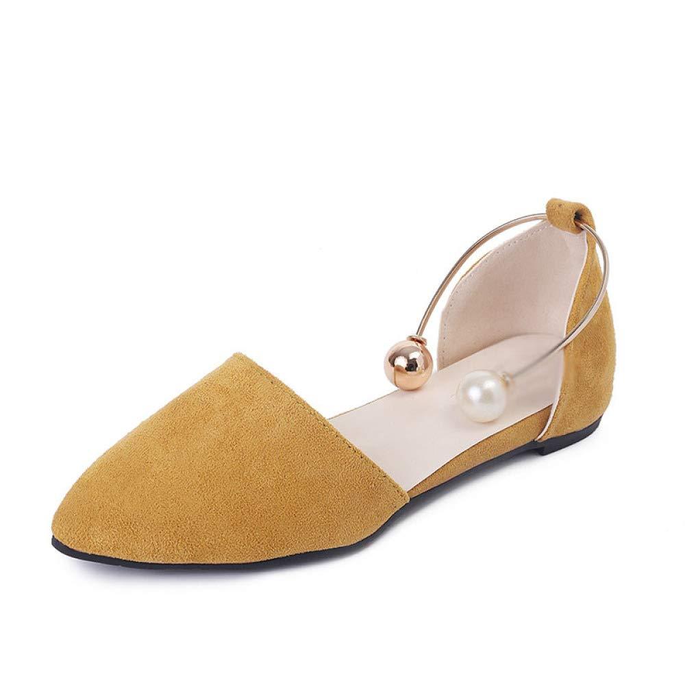 WFL Scarpe estive singoli femminili scarpe casual bocca superficiale bocca piatta selvaggia scarpe scoop perline scarpe da donna marea,Nero,37 Giallo