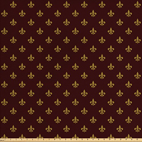 Ambesonne Fleur De Lis Fabric by The Yard, French Pattern European Culture Theme Abstract Vintage Renaissance, Decorative Fabric for Upholstery and Home Accents, 2 Yards, Burgundy Earth Yellow