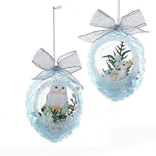 Kurt Adler 5-Inch Glass Pinecone Ornament Set of 2, 2 Piece