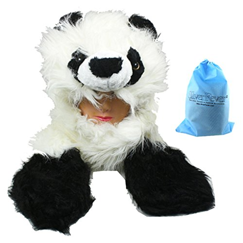 [Silver Fever Plush Soft Animal Beanie Hat with Built-in Earmuffs, Scarf, Gloves (Fluffy Panda)] (Fever Panda Adult Costumes)