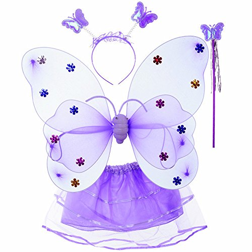 Evelin LEE 4pcs/lot Toddler Girls Fairy Shining Butterfly Cosplay Costume Wing Wand Tutu Skirt Halloween Party Costume Set