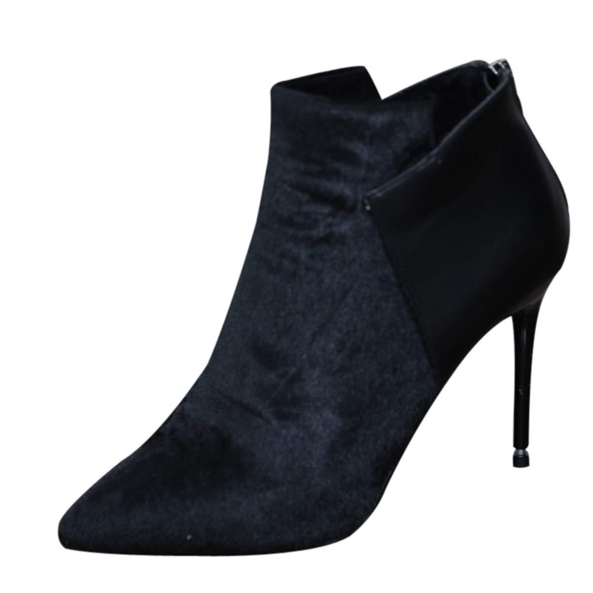 LBTSQ-Zusammenfügen Mode Hochhackigen Stiefeln 9Cm Sexy Scharf Darauf Dünne Sohle Kurze Stiefel Und Ohne Stiefel.