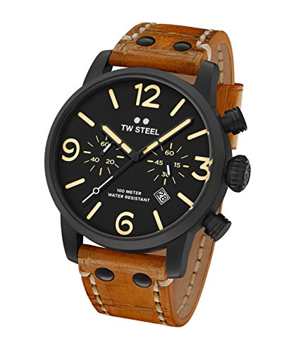 TW Steel Men's 'Maverick' Quartz Stainless and Leather Casual Watch, Color:Brown (Model: MS34)