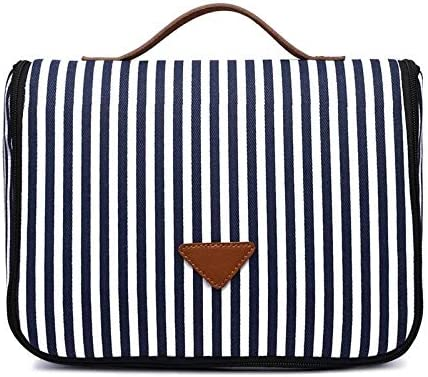 YouNITE ブルーストライプキャンバス化粧バッグ女性旅行バスオーガナイザーのための化粧品ポーチレディース美容化粧トイレシャワートイレタリーキット (Color : Blue Striped)