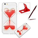 Liquid Case for iPhone 6S,for iPhone 6 Glitter Love Heart Case,Herzzer Luxury Funny Creative 3D Sandglass Liquid Quicksand Glitter Sand Moving Crystal Soft Gel Protective Back Cover Case