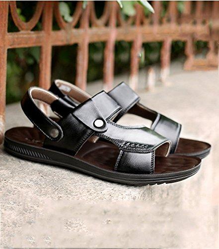 Sandali con sandali WFL sandali da uomo in da Nero da estiva uomo di da spiaggia morbidi fondo in uomo pelle pelle 1w6dqAw