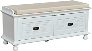 "Amazon Brand – Ravenna Home Classic Solid Pine Storage Bench, 45""W, White Wash Finish"