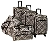 American Flyer Silver Clover 4-Spinner 5-pcs Luggage Set, Black Grey