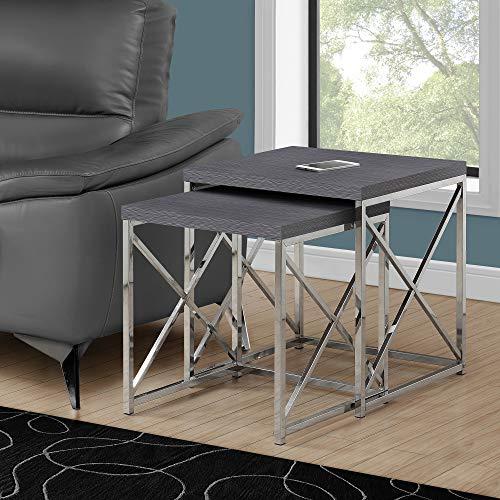 Monarch Specialties , Nesting Table, Chrome Metal, Grey, Table Set, 2 pcs