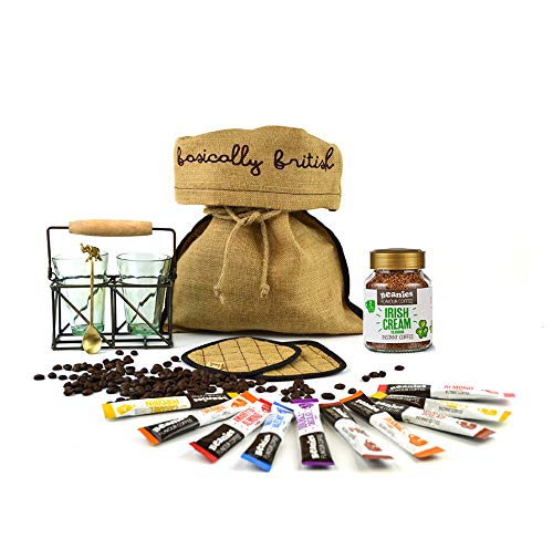 Cream Tea Hamper - Beanies Irish Cream Flavour Instant Coffee Hamper with Two Vintage Tea Glasses Antique Brass Tea Stand Coaster Set and Handmade Tea Spoon. All Packed in a rustic burlap gift bag.