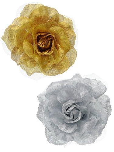 Women's Multifunction Rose Flower Sheer Petal Brooch Pin Hair Tie Clip Set of 2, (Petal Flower Pin Brooch)